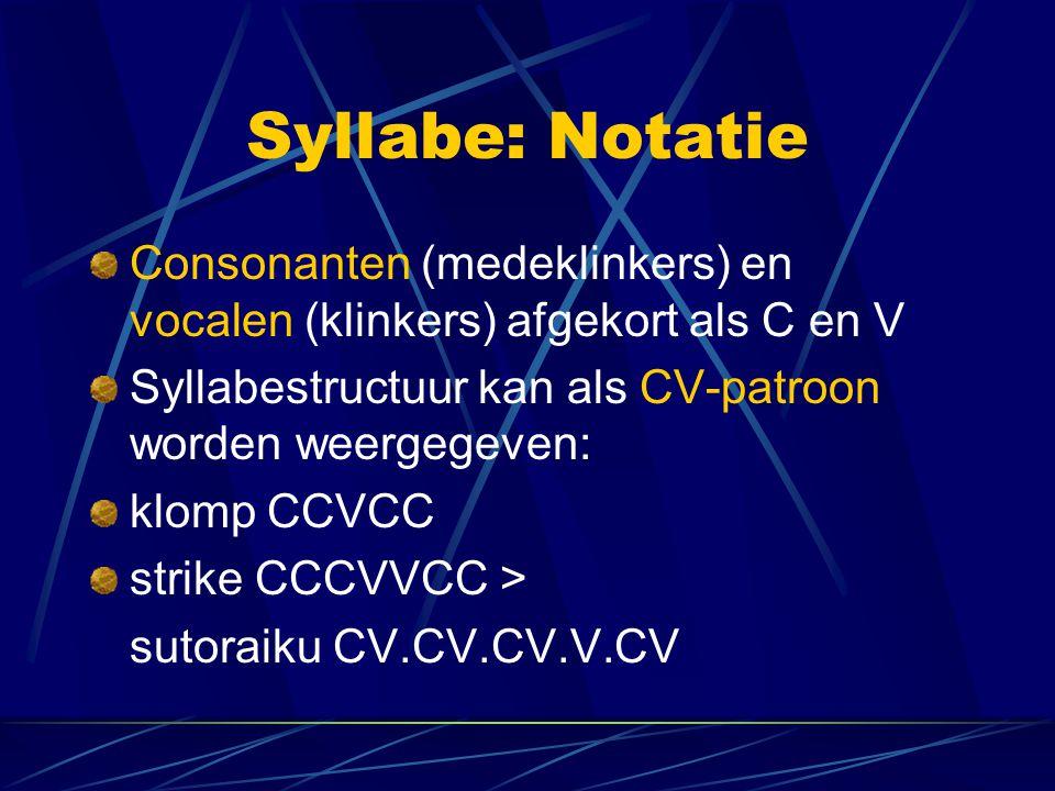Syllabe: Notatie Consonanten (medeklinkers) en vocalen (klinkers) afgekort als C en V. Syllabestructuur kan als CV-patroon worden weergegeven: