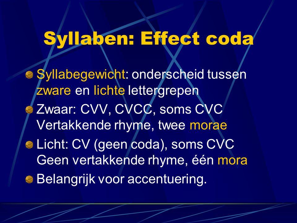 Syllaben: Effect coda Syllabegewicht: onderscheid tussen zware en lichte lettergrepen. Zwaar: CVV, CVCC, soms CVC Vertakkende rhyme, twee morae.
