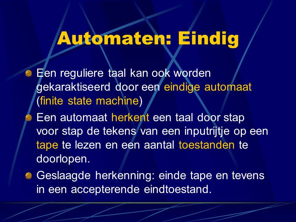 Automaten: Eindig Een reguliere taal kan ook worden gekaraktiseerd door een eindige automaat (finite state machine)