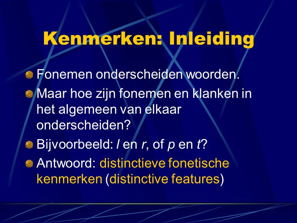 Kenmerken: Inleiding Fonemen onderscheiden woorden.