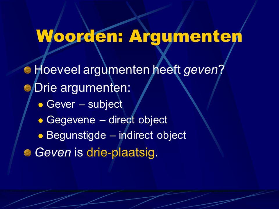 Woorden: Argumenten Hoeveel argumenten heeft geven Drie argumenten:
