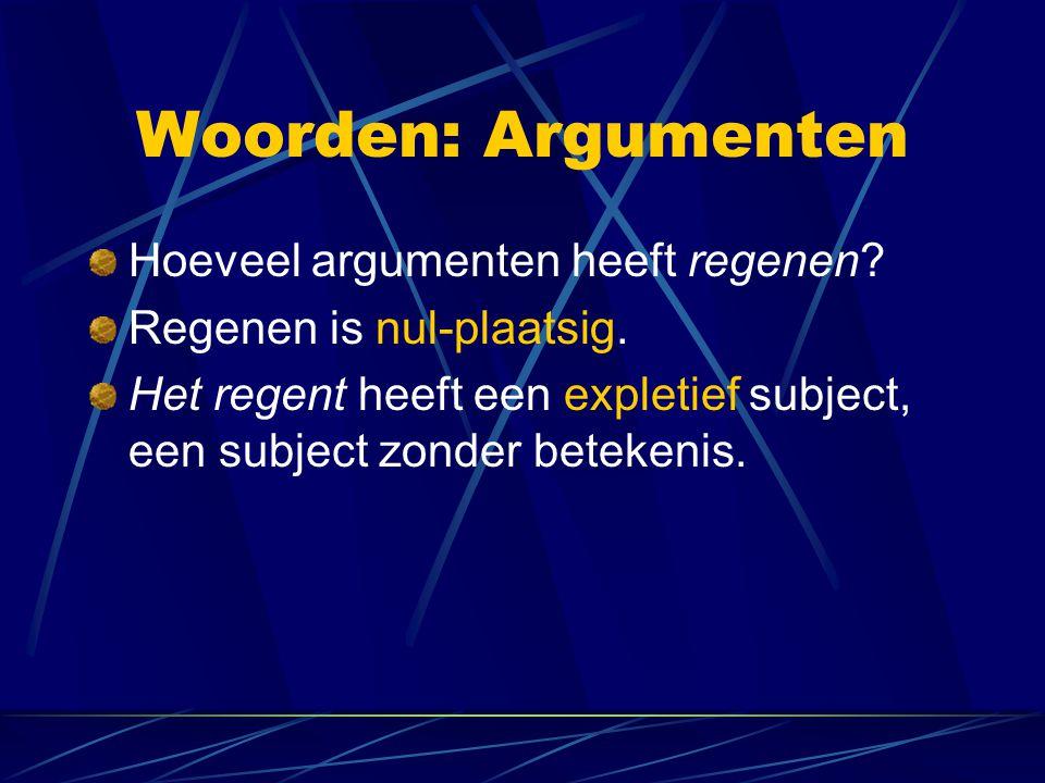 Woorden: Argumenten Hoeveel argumenten heeft regenen