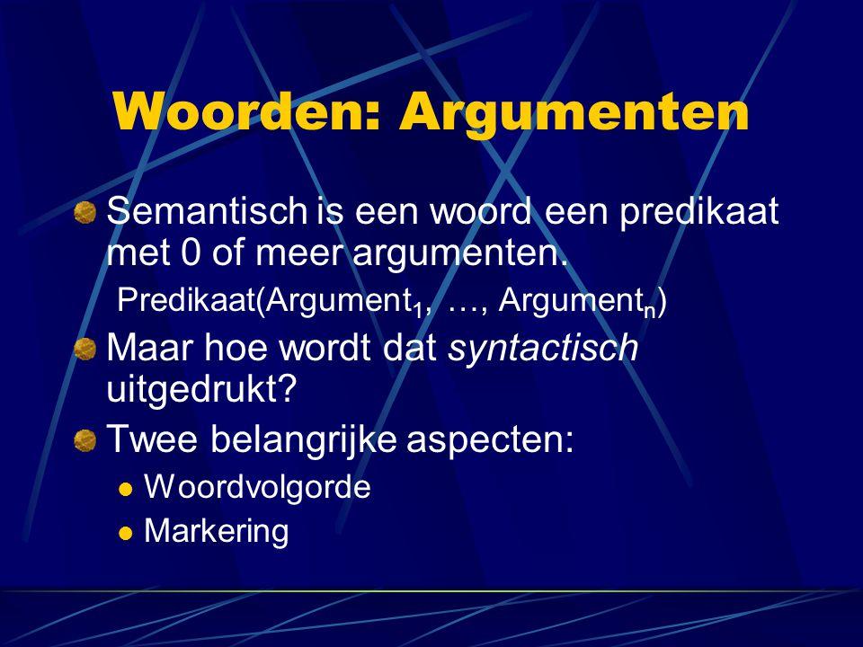 Woorden: Argumenten Semantisch is een woord een predikaat met 0 of meer argumenten. Predikaat(Argument1, …, Argumentn)