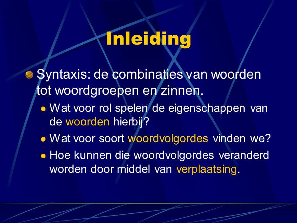 Inleiding Syntaxis: de combinaties van woorden tot woordgroepen en zinnen. Wat voor rol spelen de eigenschappen van de woorden hierbij
