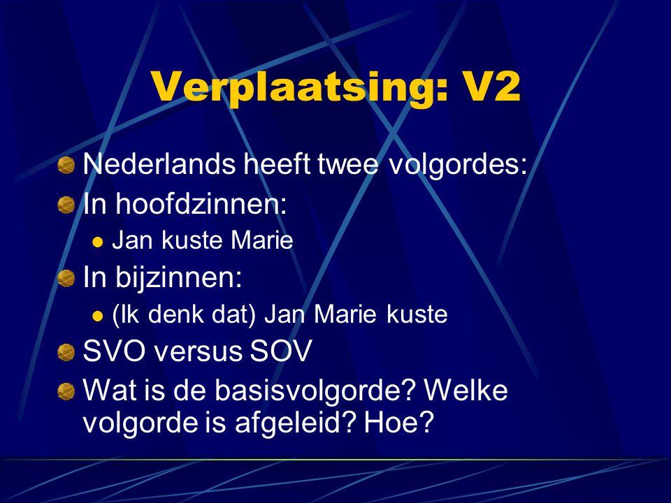 Verplaatsing: V2 Nederlands heeft twee volgordes: In hoofdzinnen: