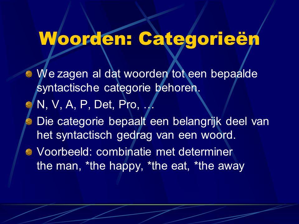 Woorden: Categorieën We zagen al dat woorden tot een bepaalde syntactische categorie behoren. N, V, A, P, Det, Pro, …