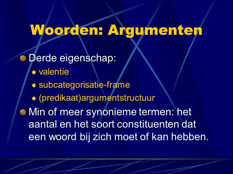 Woorden: Argumenten Derde eigenschap: