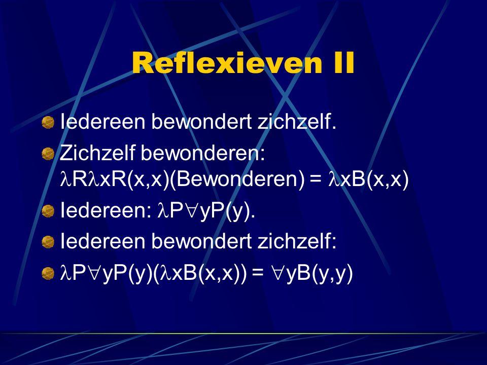 Reflexieven II Iedereen bewondert zichzelf.