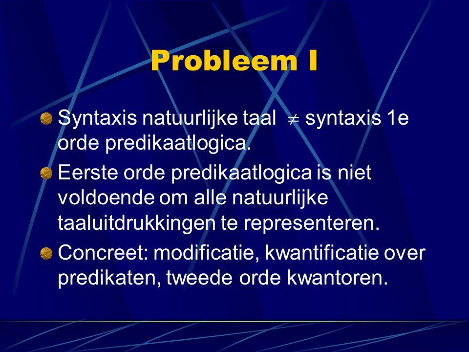 Probleem I Syntaxis natuurlijke taal  syntaxis 1e orde predikaatlogica.