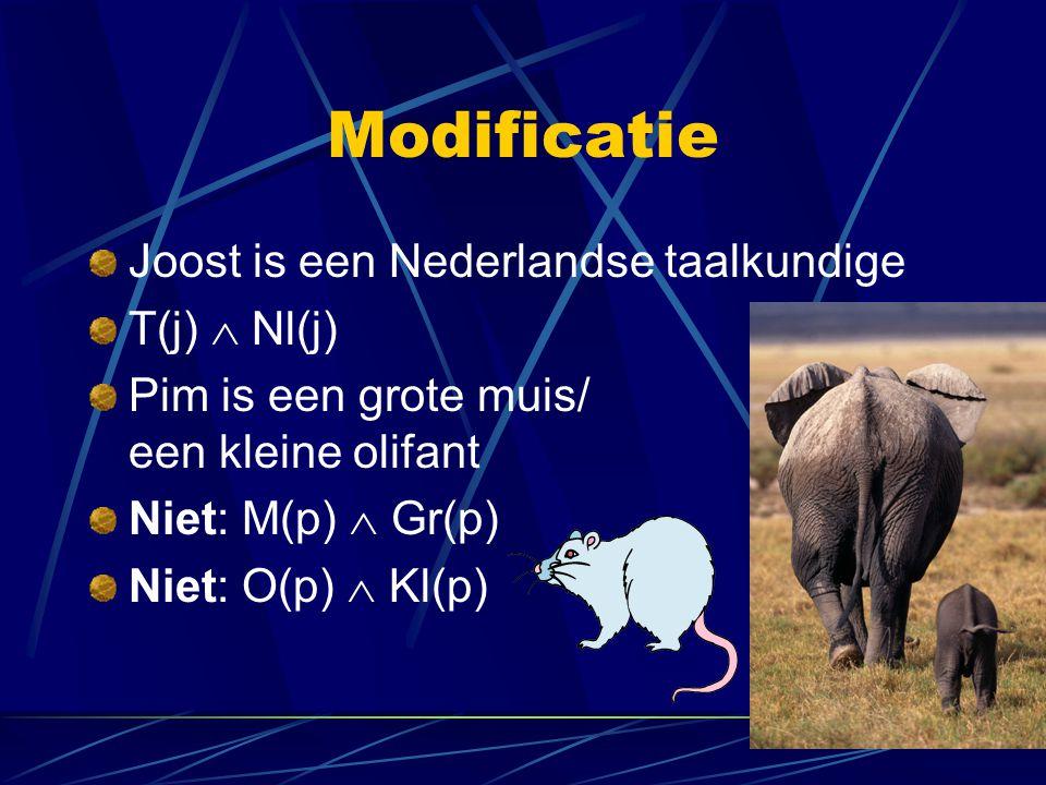 Modificatie Joost is een Nederlandse taalkundige T(j)  Nl(j)