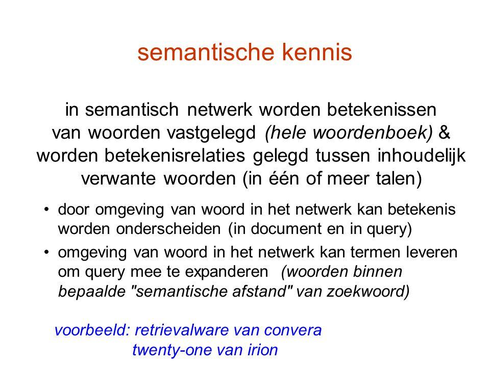 semantische kennis in semantisch netwerk worden betekenissen