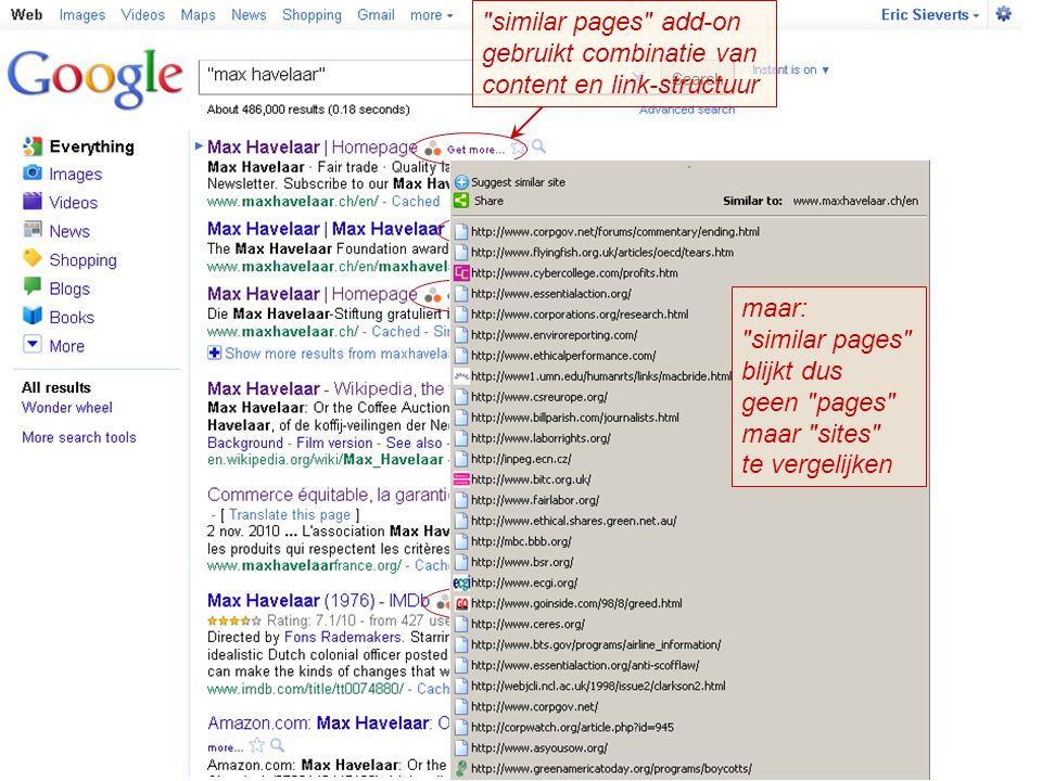 similar pages add-on gebruikt combinatie van. content en link-structuur. maar: similar pages