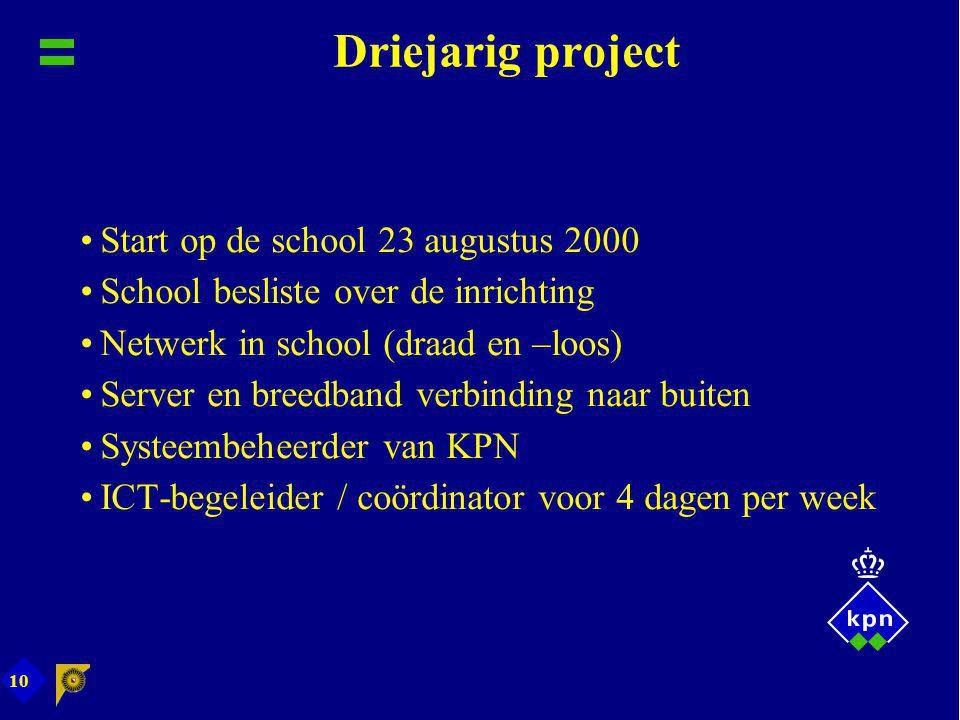 Driejarig project Start op de school 23 augustus 2000