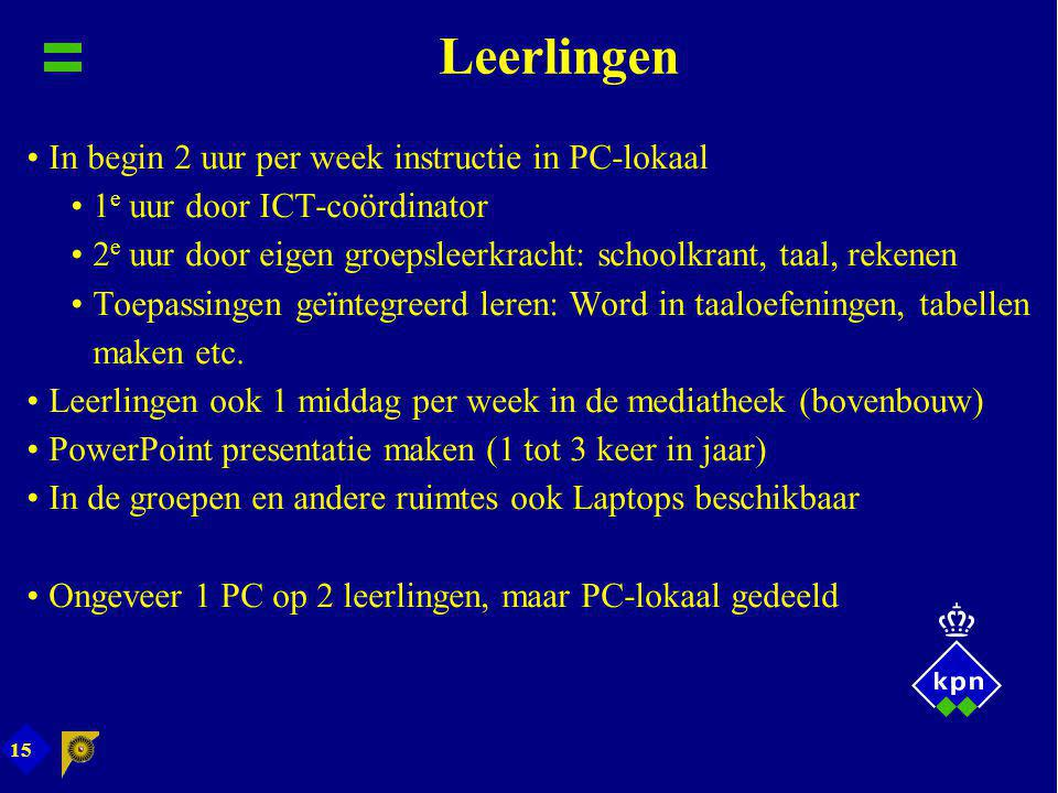 Leerlingen In begin 2 uur per week instructie in PC-lokaal