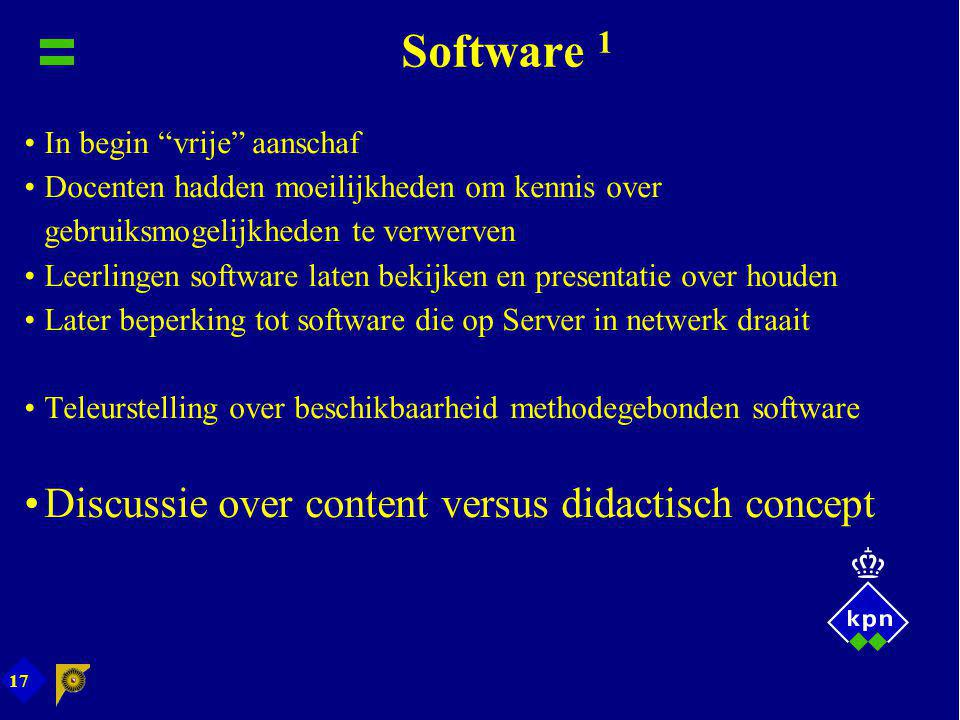 Software 1 Discussie over content versus didactisch concept
