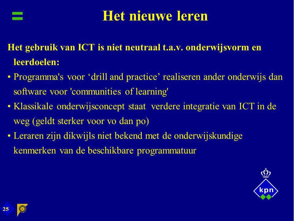 Het nieuwe leren Het gebruik van ICT is niet neutraal t.a.v. onderwijsvorm en leerdoelen: