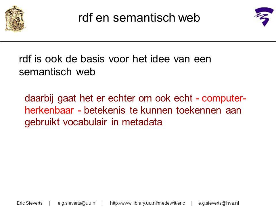 rdf en semantisch web rdf is ook de basis voor het idee van een semantisch web.