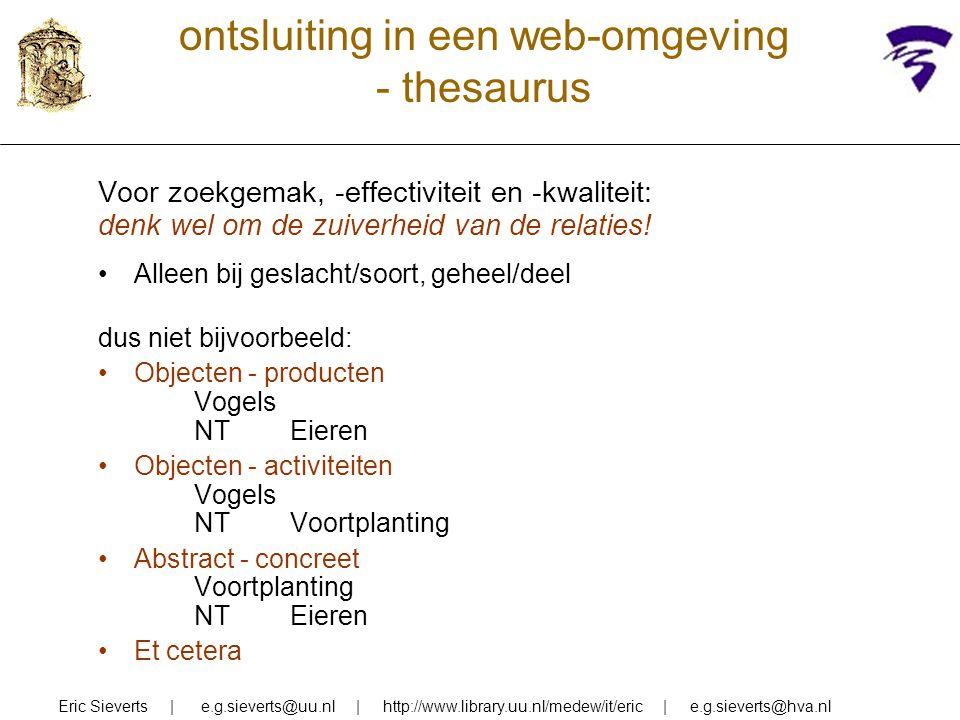 ontsluiting in een web-omgeving - thesaurus