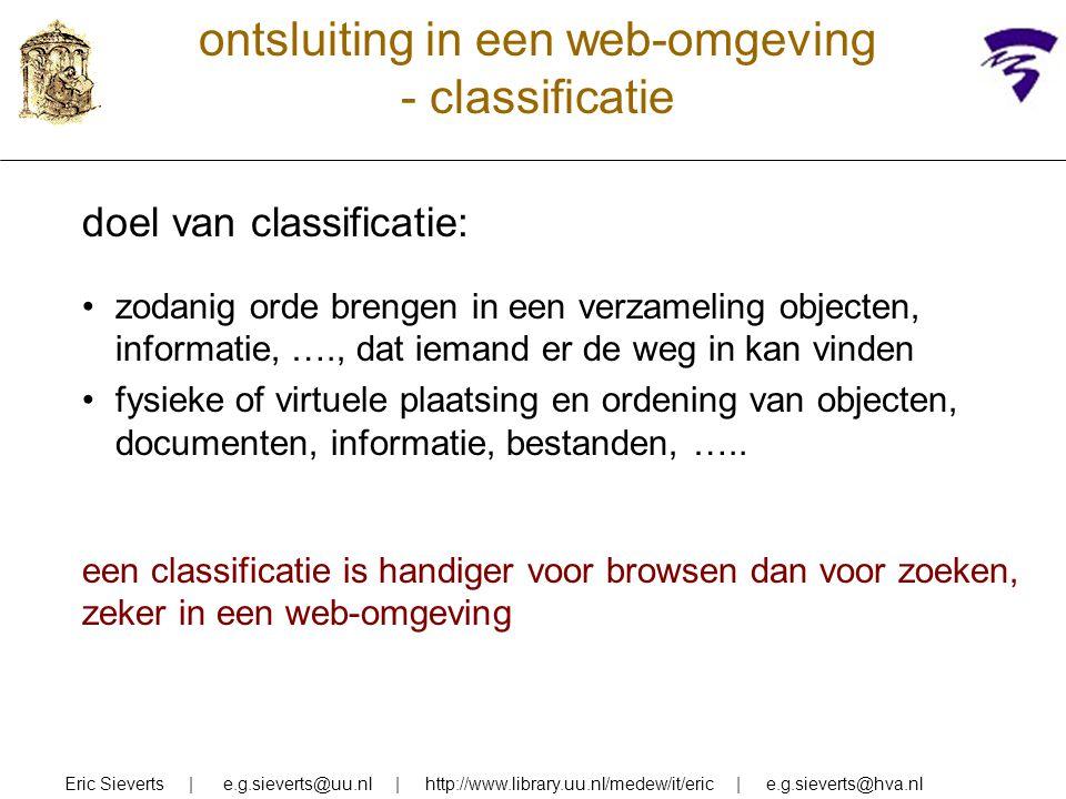 ontsluiting in een web-omgeving - classificatie