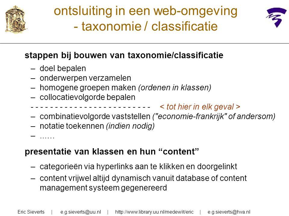 ontsluiting in een web-omgeving - taxonomie / classificatie