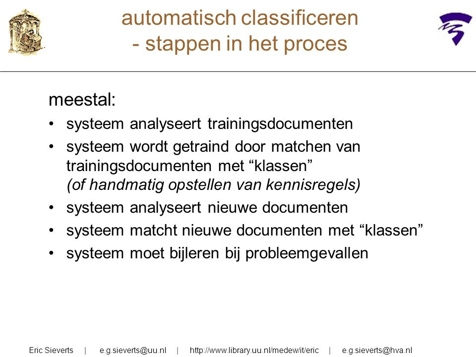automatisch classificeren - stappen in het proces