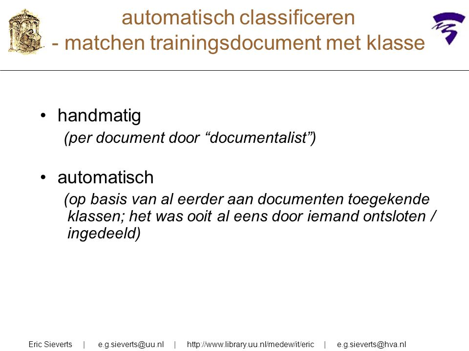 automatisch classificeren - matchen trainingsdocument met klasse