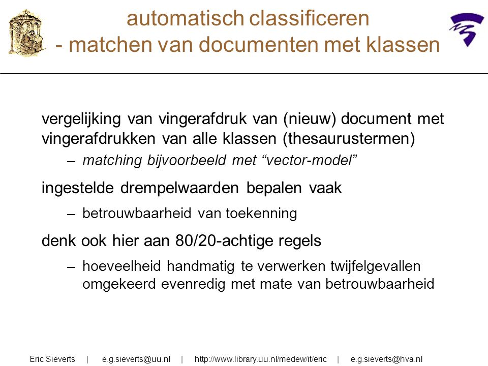 automatisch classificeren - matchen van documenten met klassen