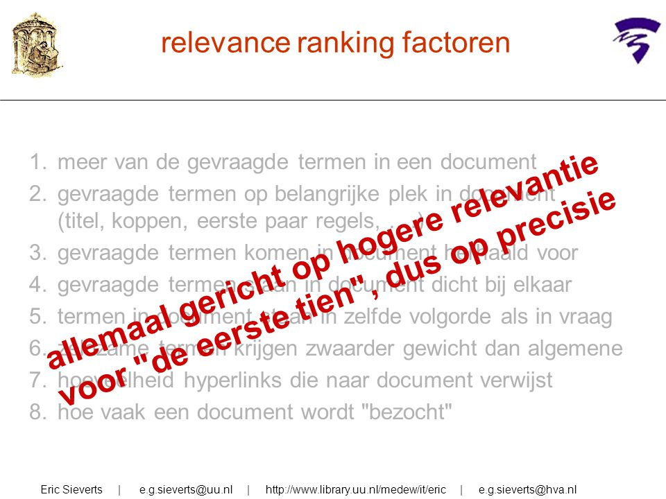 relevance ranking factoren
