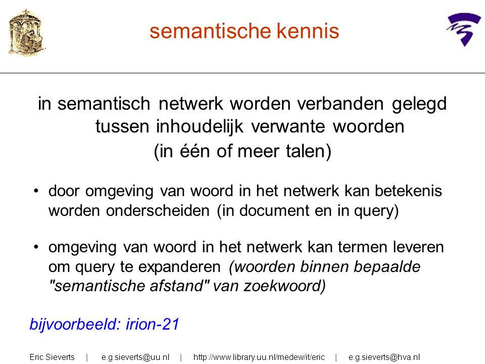 semantische kennis in semantisch netwerk worden verbanden gelegd tussen inhoudelijk verwante woorden.