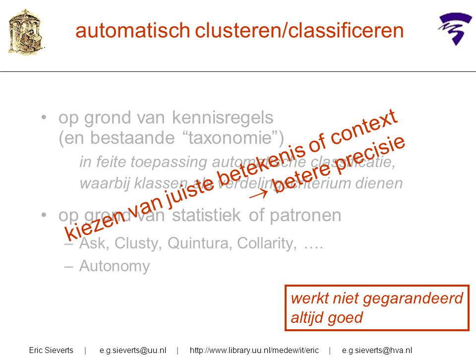 automatisch clusteren/classificeren