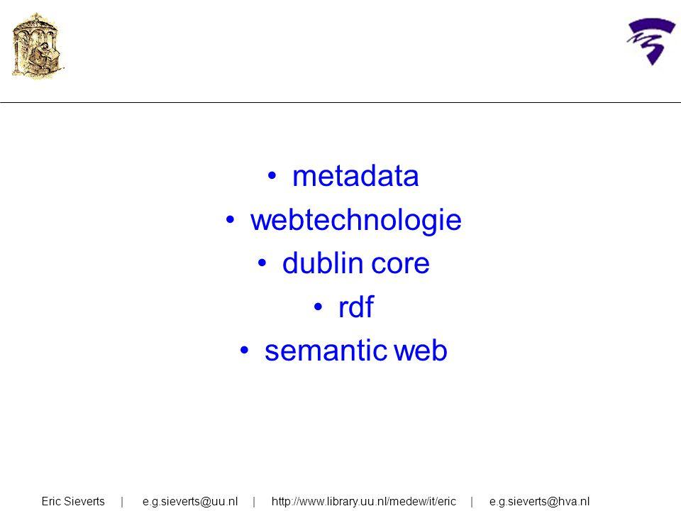 metadata webtechnologie dublin core rdf semantic web