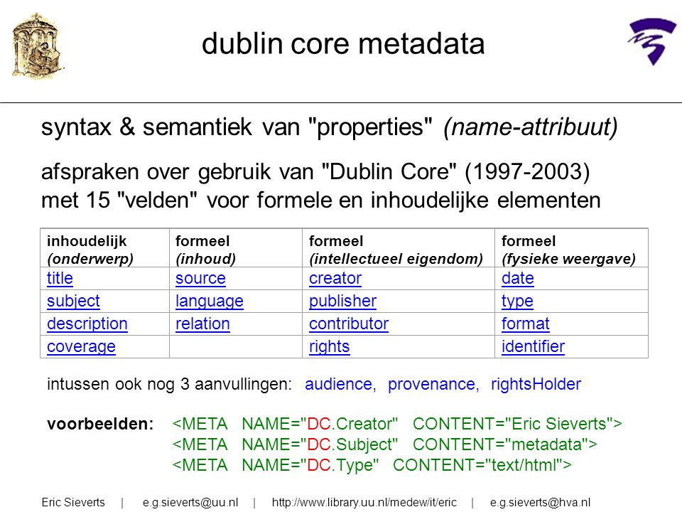 dublin core metadata syntax & semantiek van properties (name-attribuut) afspraken over gebruik van Dublin Core (1997-2003)