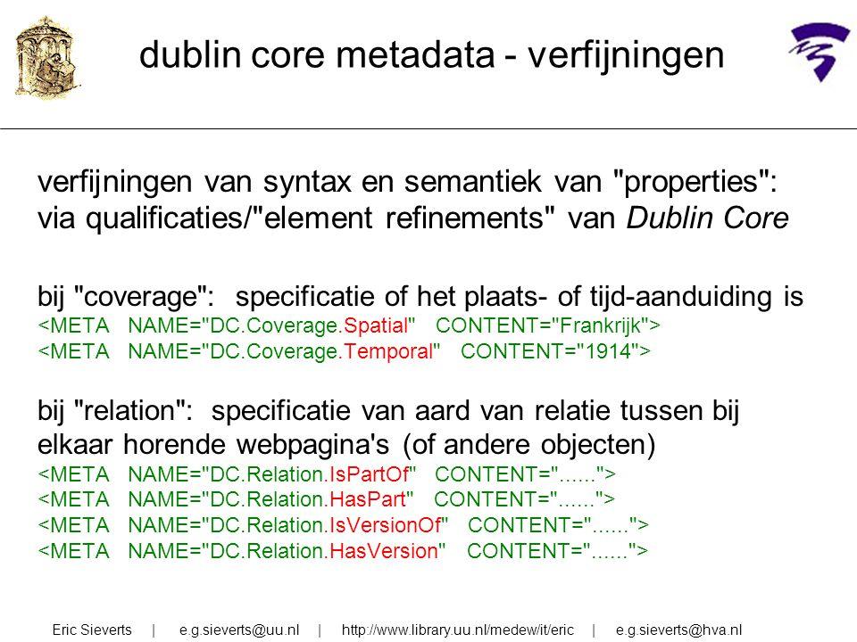 dublin core metadata - verfijningen