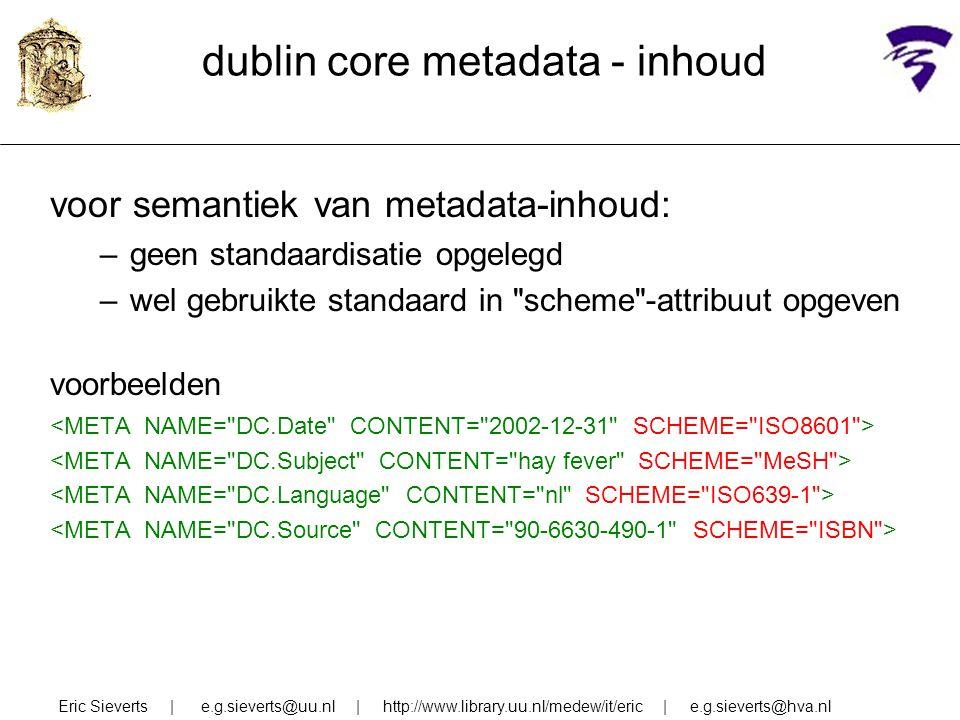 dublin core metadata - inhoud