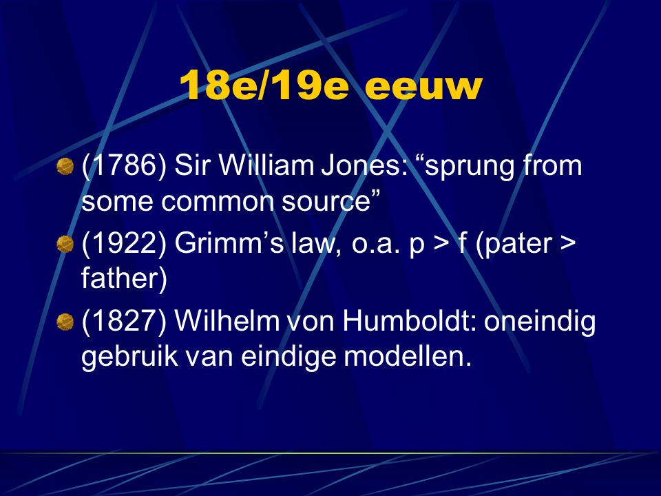 18e/19e eeuw (1786) Sir William Jones: sprung from some common source (1922) Grimm's law, o.a. p > f (pater > father)
