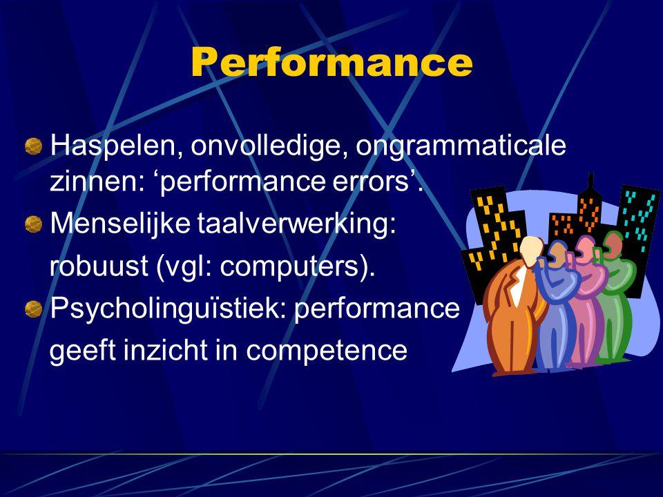 Performance Haspelen, onvolledige, ongrammaticale zinnen: 'performance errors'. Menselijke taalverwerking: