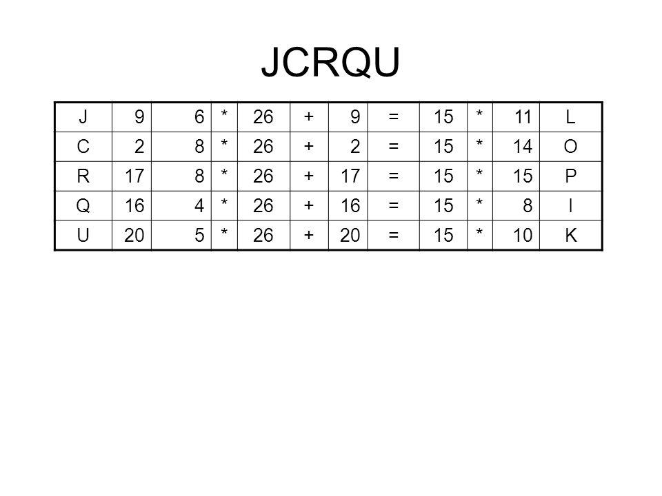 JCRQU J 9 6 * 26 + = 15 11 L C 2 8 14 O R 17 P Q 16 4 I U 20 5 10 K