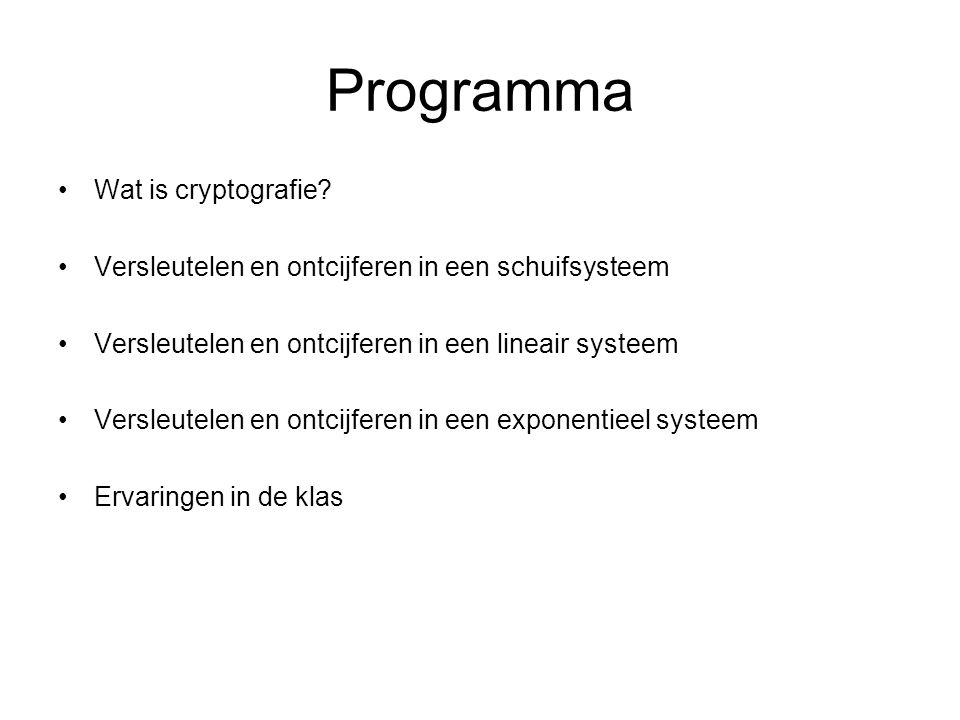Programma Wat is cryptografie