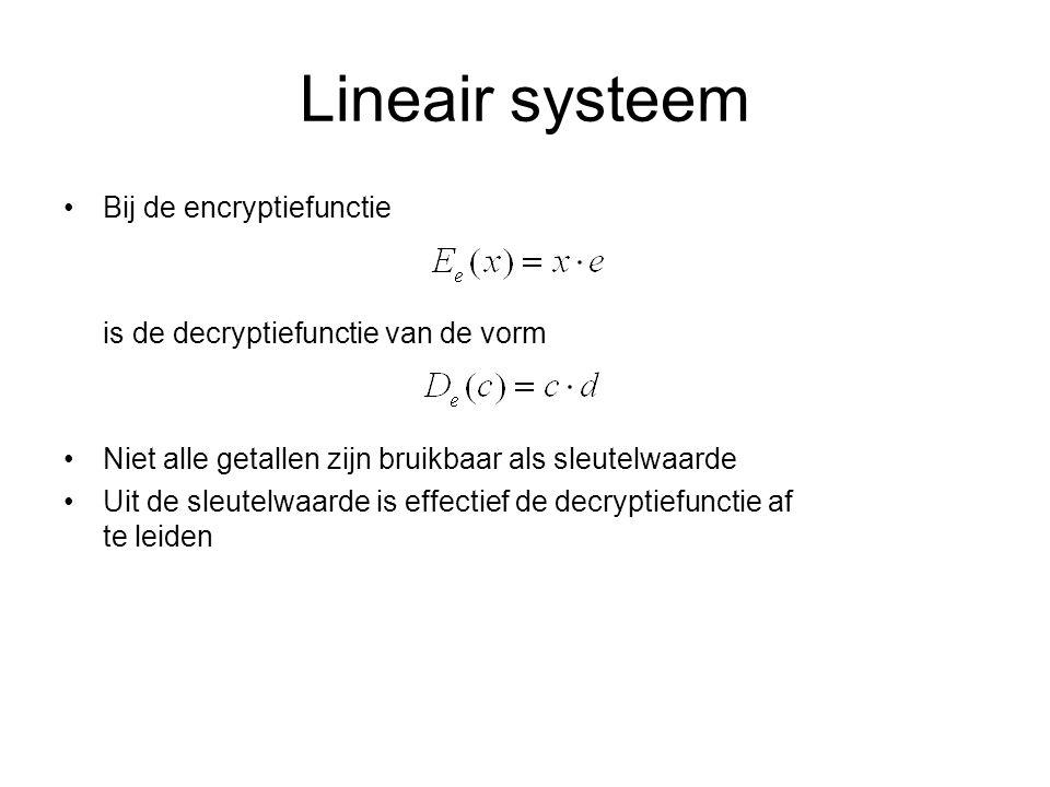 Lineair systeem Bij de encryptiefunctie