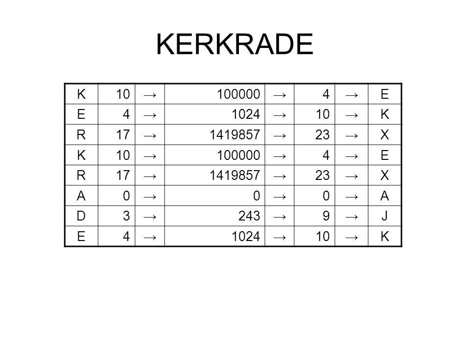 KERKRADE K 10 → 100000 4 E 1024 R 17 1419857 23 X A D 3 243 9 J