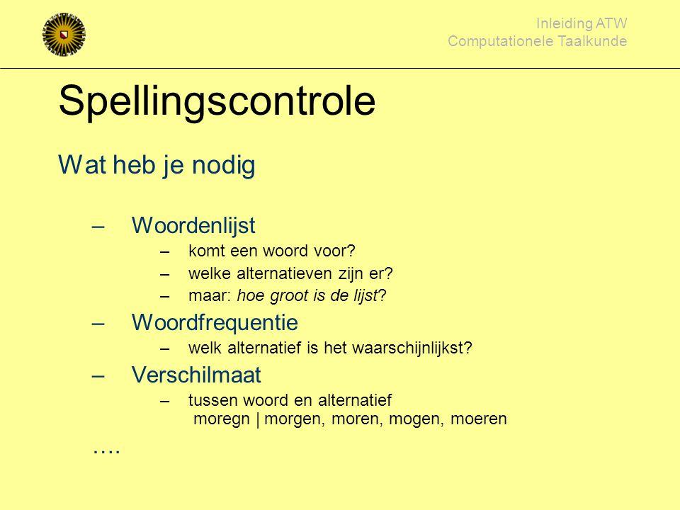 Spellingscontrole Wat heb je nodig Woordenlijst Woordfrequentie