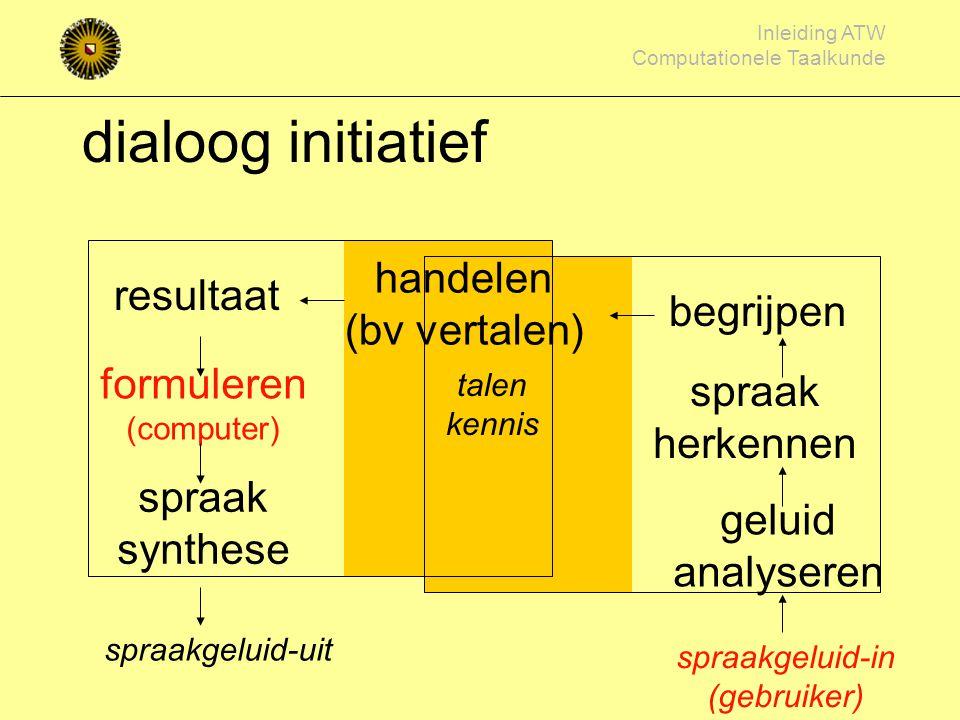 dialoog initiatief handelen (bv vertalen) resultaat begrijpen