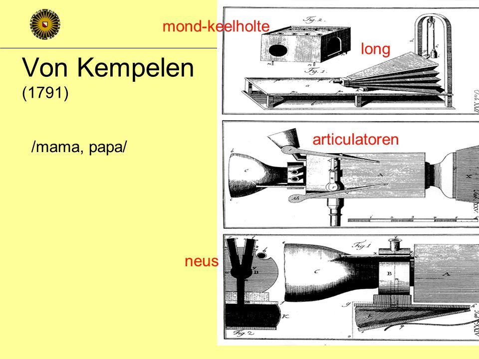 Von Kempelen (1791) mond-keelholte long articulatoren /mama, papa/