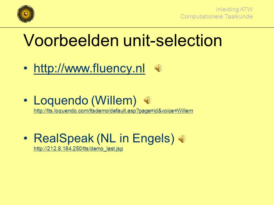 Voorbeelden unit-selection