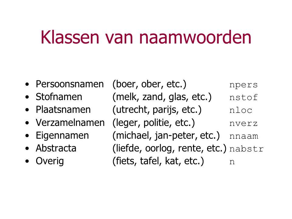 Klassen van naamwoorden