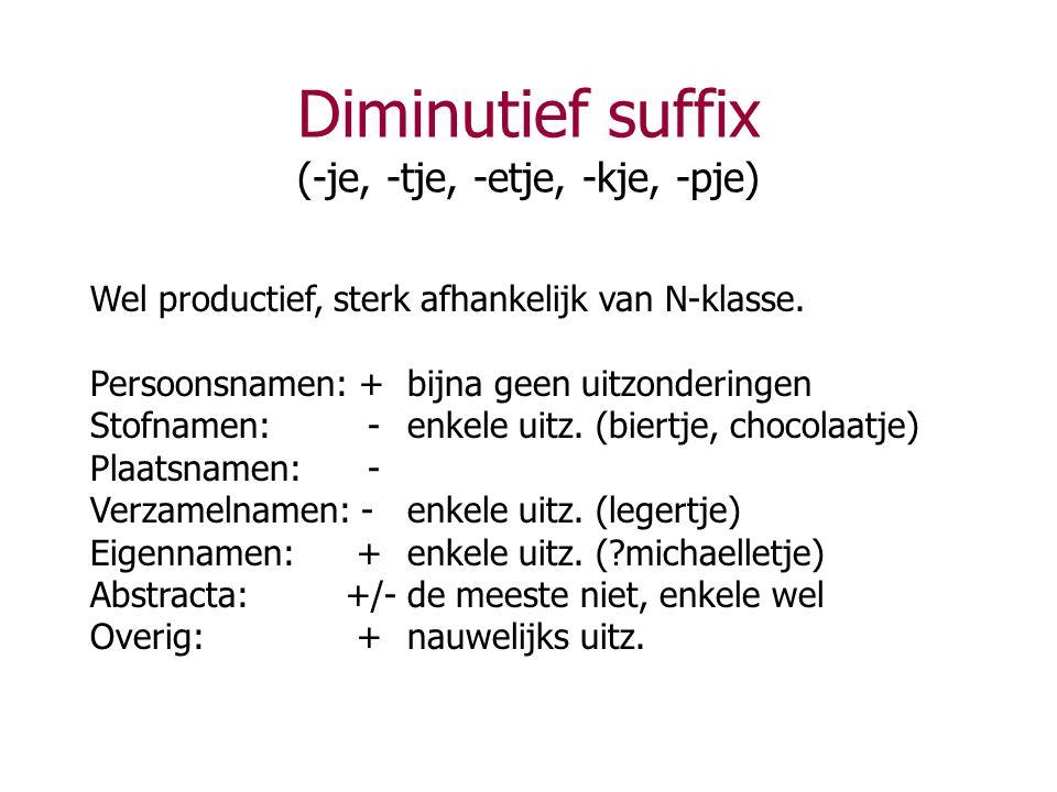 Diminutief suffix (-je, -tje, -etje, -kje, -pje)