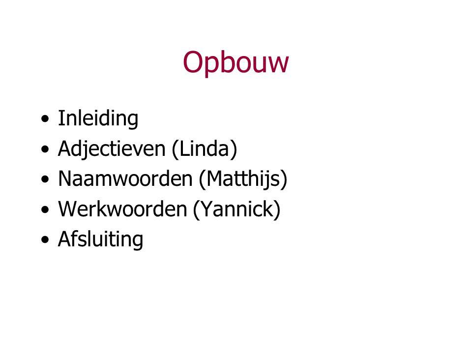 Opbouw Inleiding Adjectieven (Linda) Naamwoorden (Matthijs)