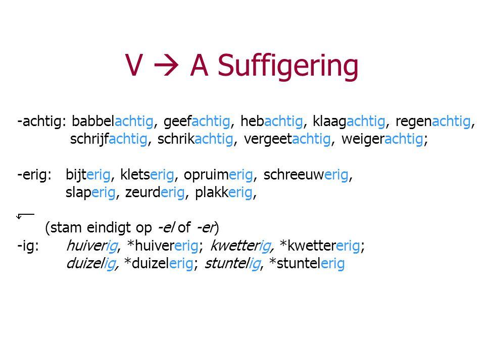 V  A Suffigering -achtig: babbelachtig, geefachtig, hebachtig, klaagachtig, regenachtig, schrijfachtig, schrikachtig, vergeetachtig, weigerachtig;