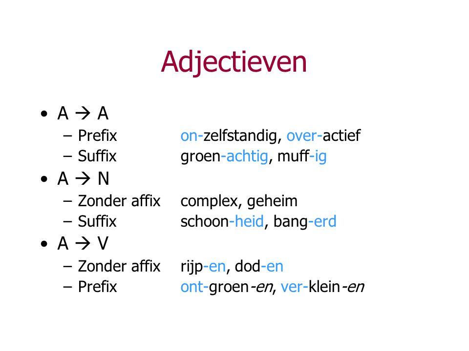 Adjectieven A  A A  N A  V Prefix on-zelfstandig, over-actief