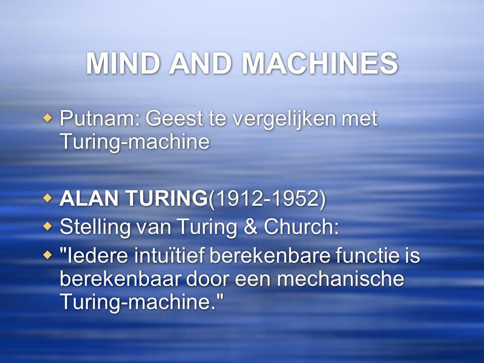 MIND AND MACHINES Putnam: Geest te vergelijken met Turing-machine